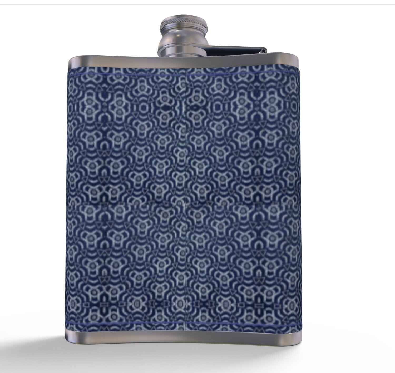 #NEW LEATHER HIP FLASK BLUE AFRICAN PRINT