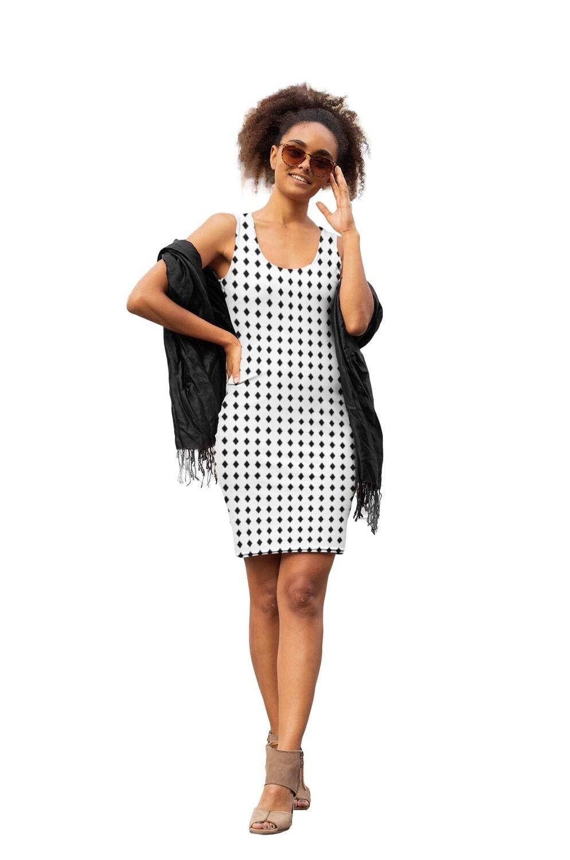 Black Diamonds Print Bodycon Dress