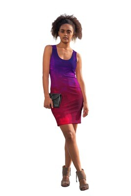 Purple and Red Watercolour Bodycon Dress