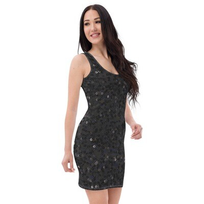Solid Black Sequin Print Bodycon Dress