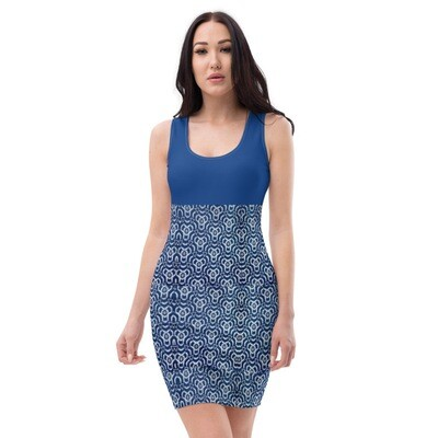 Classic Blue and African Print Bodycon Dress