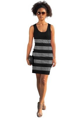Monochromatic Stripes Print Bodycon Dress