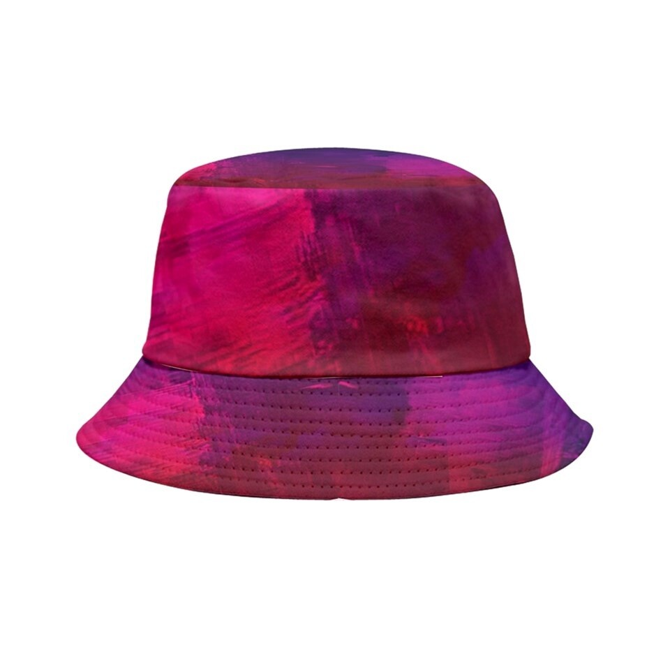 Violet and Red Tie-Dyed Bucket Hat