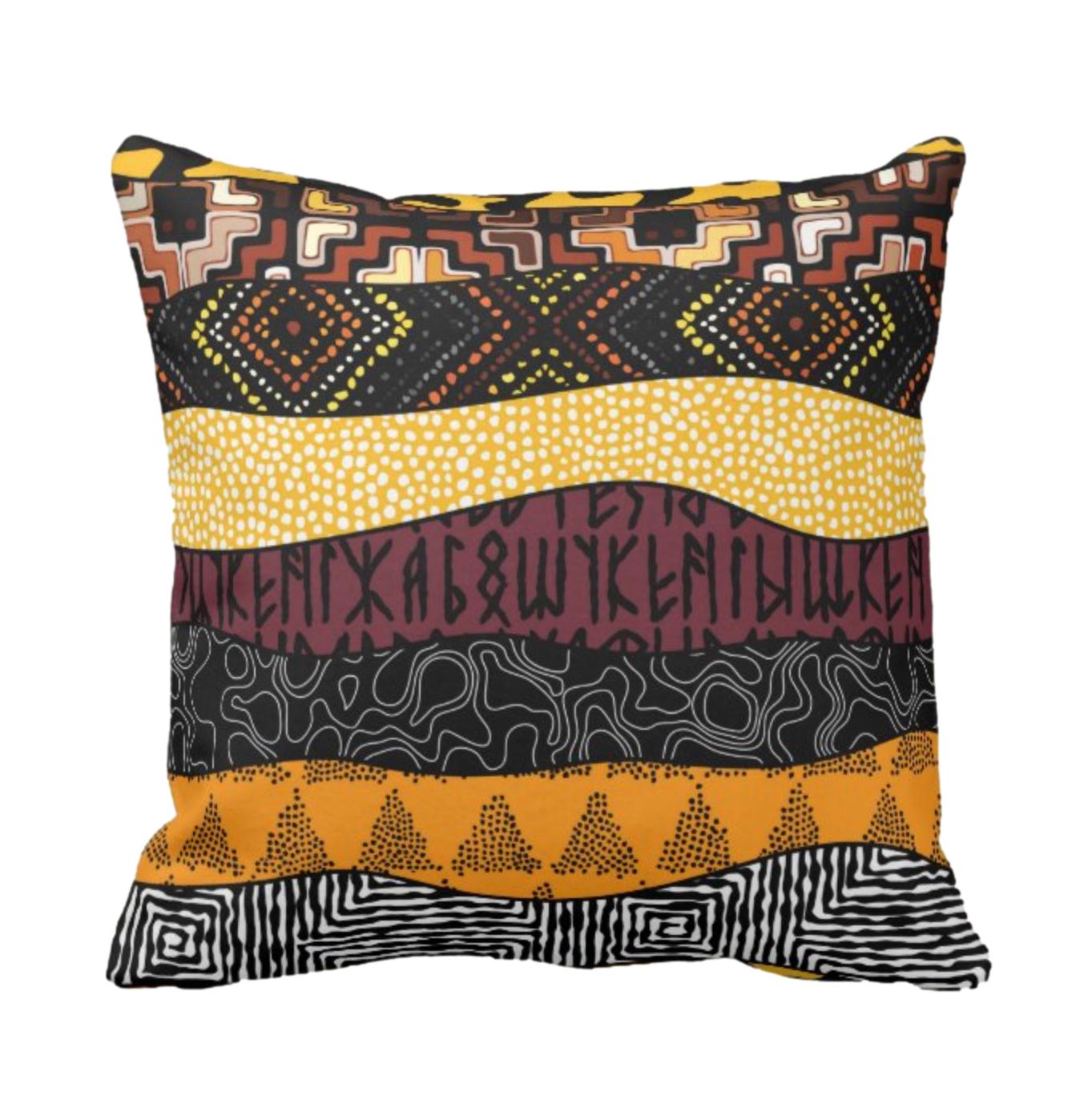 Afro Patchwork Print Design 2 Throw Cushion