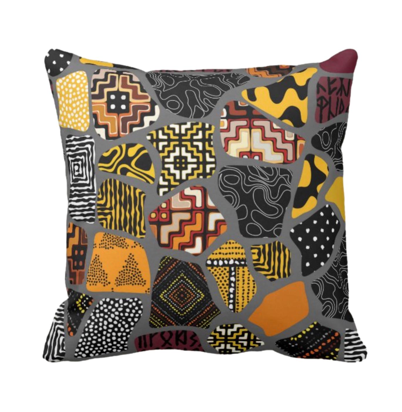 Afro Patchwork Print Design 1 Throw Cushion