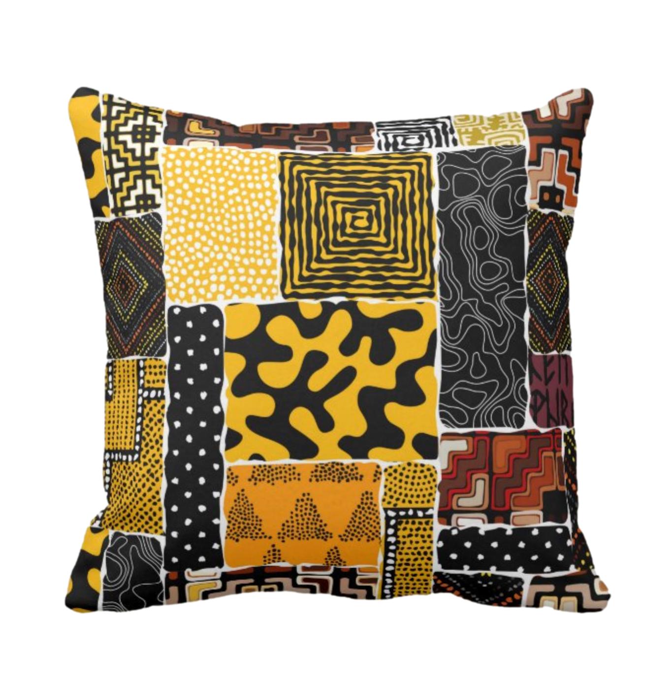 Afro Patchwork Print Design 8 Throw Cushion