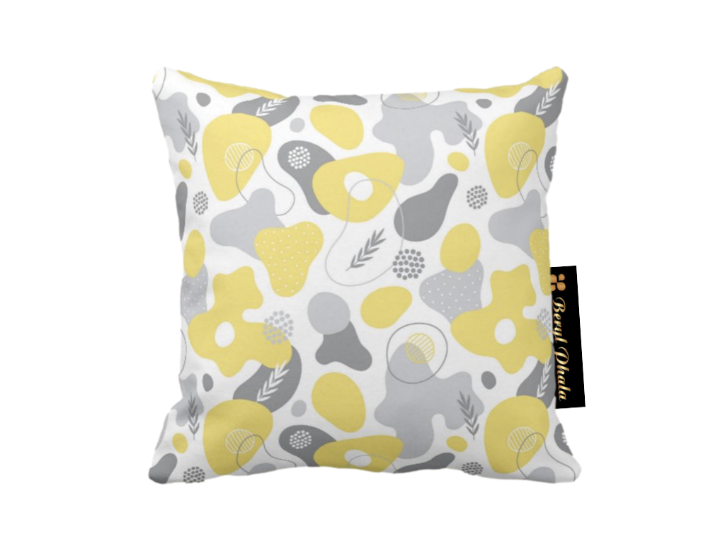 Yellow and Grey Print #1 Cushion