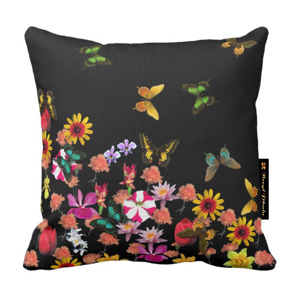 Butterflies and Flowers Cushions - Black