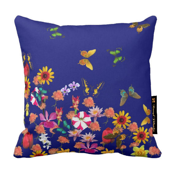 Butterflies and Flowers Cushions - Blue