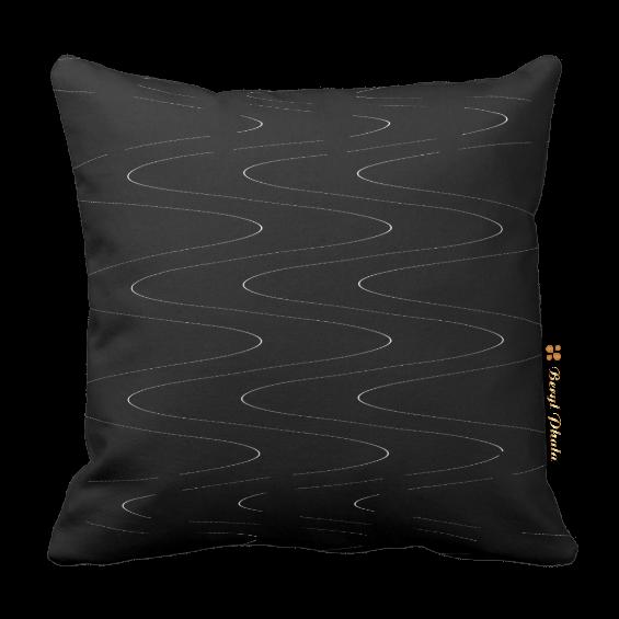 Monochrome Cushion - Waves Print Design