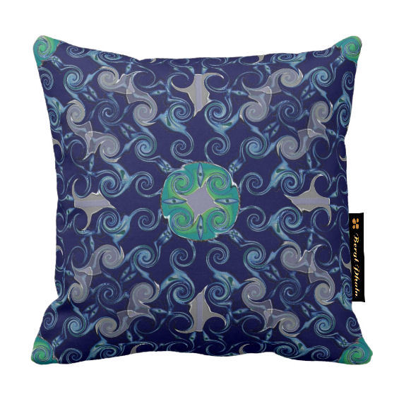 Abstract Floral Luxury Cushion Blue Print Design - 2