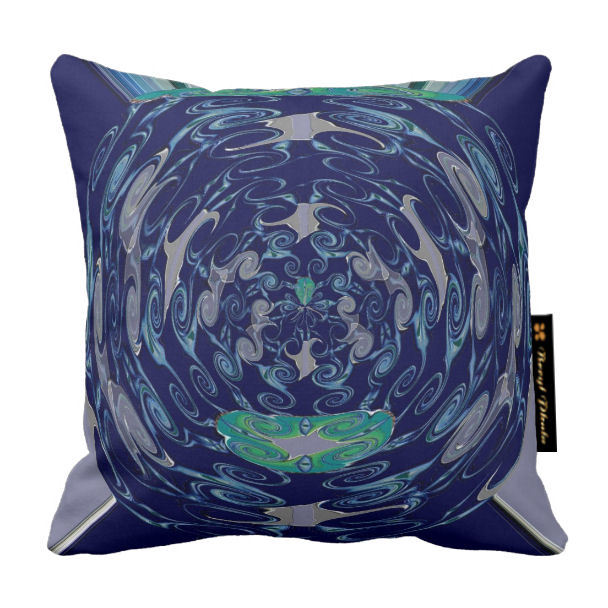 Abstract Floral Luxury Cushion Blue Print Design