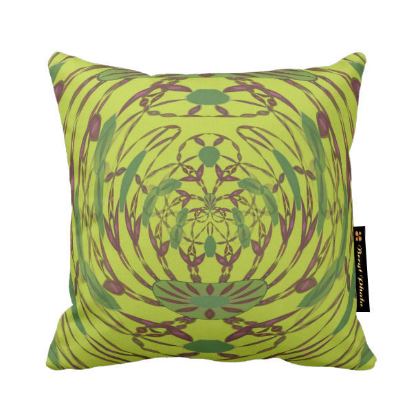 Abstract Floral Luxury Cushion - Lime Green Print Design