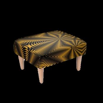 Footstool Black & Gold Zebra Print