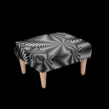 Footstool Black & White Zebra Print