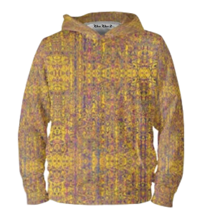 Yellow & Mauve Print Hoodie Pullover