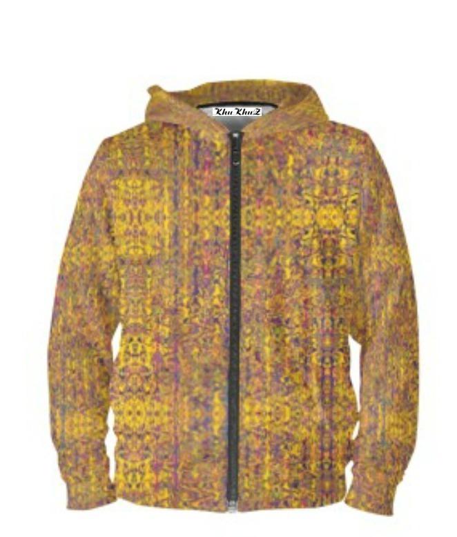 Yellow & Mauve Print Hoodie Zipper