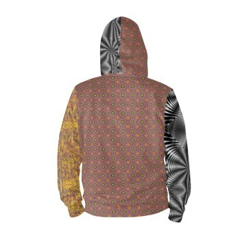 Yellow & Mauve Print & Black & White Colour Clash Print Hoodie Pullover - 7