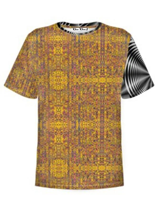 T-Shirt Cotton, Yellow, Black & White Sleeve Colour Block Print