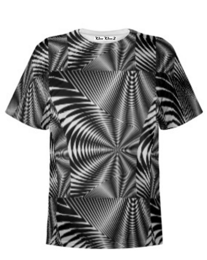 T-Shirt Cotton, Large Black & White Print