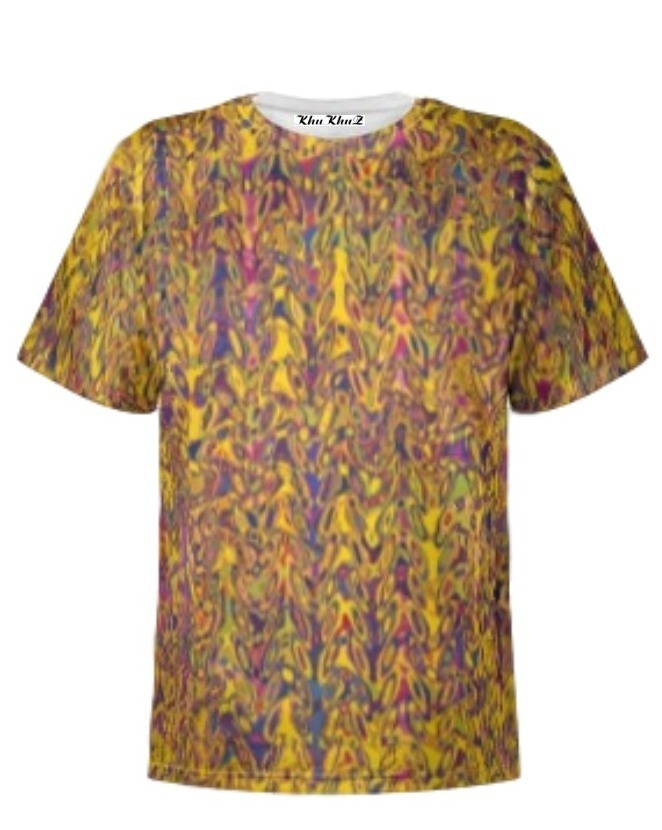 T-Shirt Cotton, Large Yellow & Mauve Print
