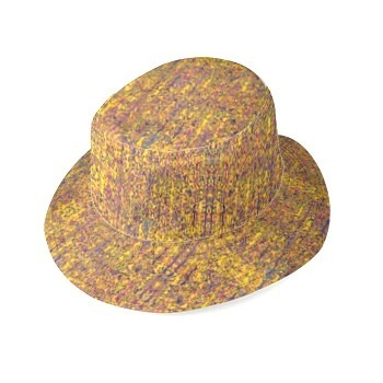 Yellow and Mauve Print Bucket Hat