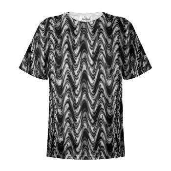 T-Shirt Cotton, Black and White Waves Print