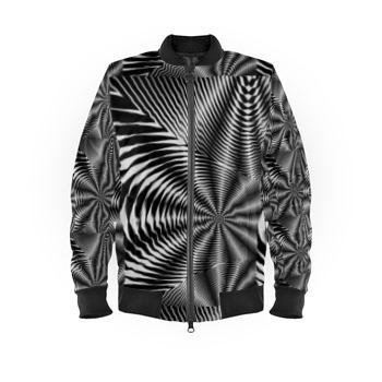 Bomber Jacket Black and White Stripes Print