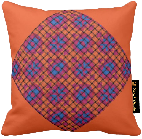 Cushion Blue and Orange Base Weave Print Design