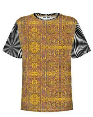 T-Shirt Cotton,Yellow, Black & White Sleeves Colour Block Print