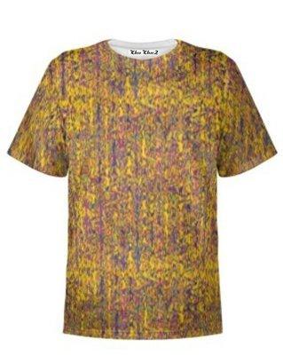 T-Shirt Cotton, Yellow & Mauve Print