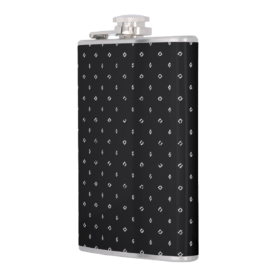 HIP FLASK WHITE CIRCLES PRINT