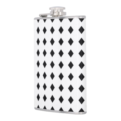 HIP FLASK BLACK DIAMONDS PRINT