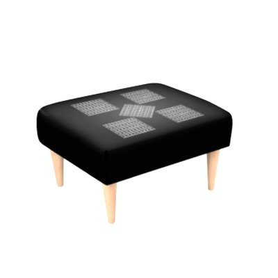 Footstool Black and Knit Print Design Patches