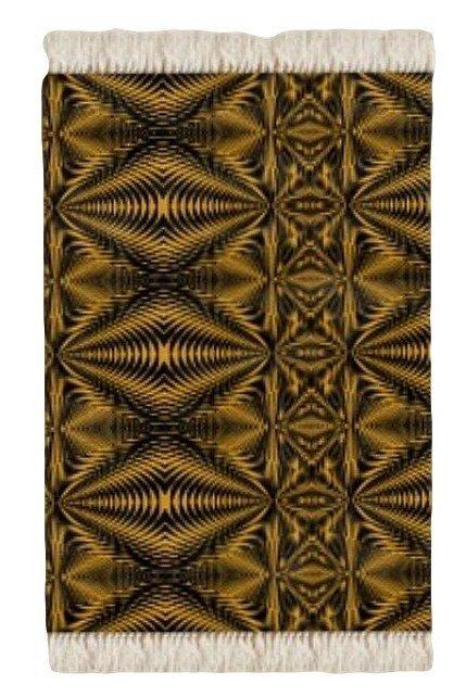 Floor Rug Black and Gold Zebra Print Design