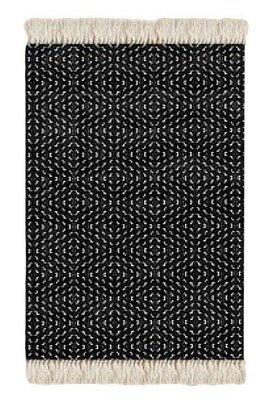 Floor Rug Black and White Print Design