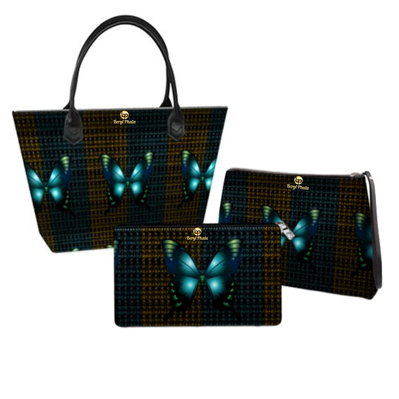 Blue Butterflies Print Handbag set