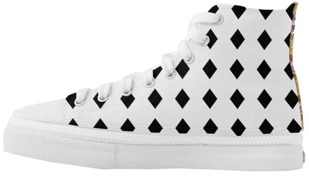 High Top Sneakers Black Diamonds & Zoo Animals