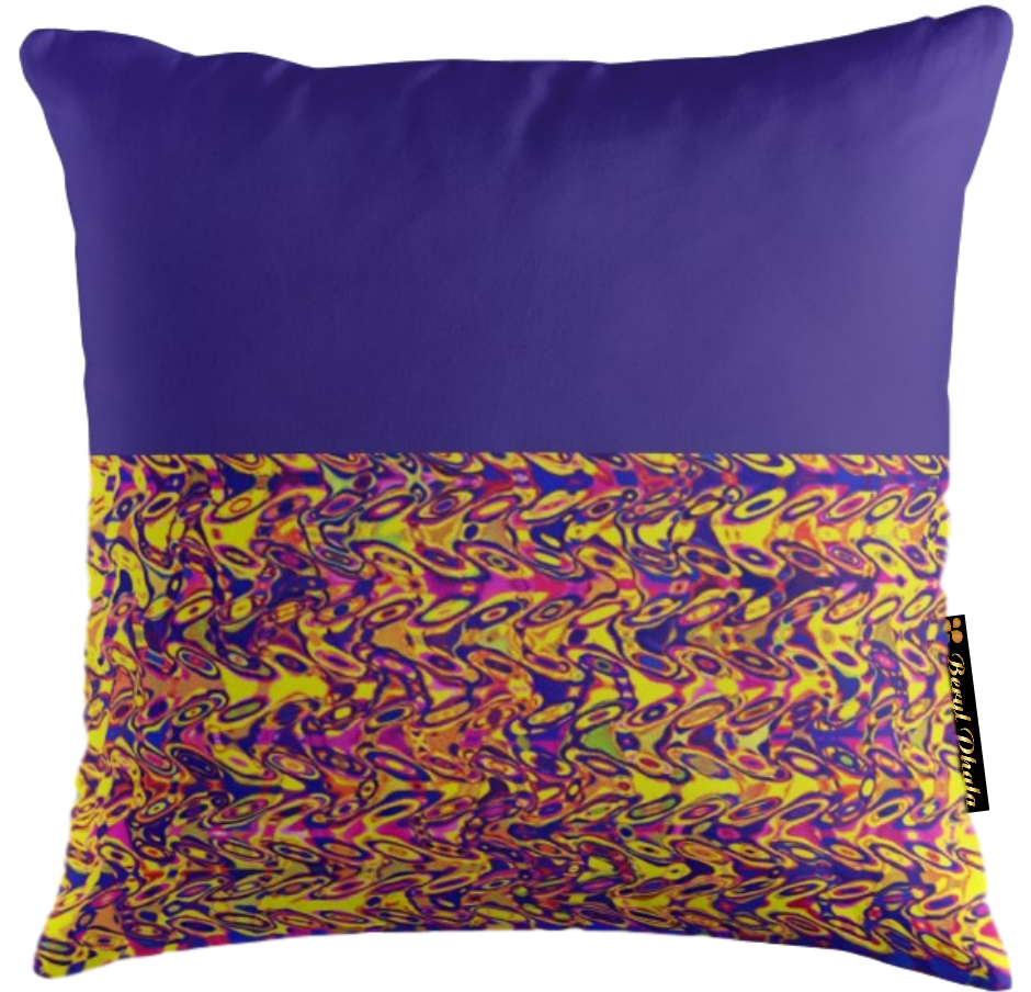 BLUE AND DUMBBELL PRINT CUSHION COVER