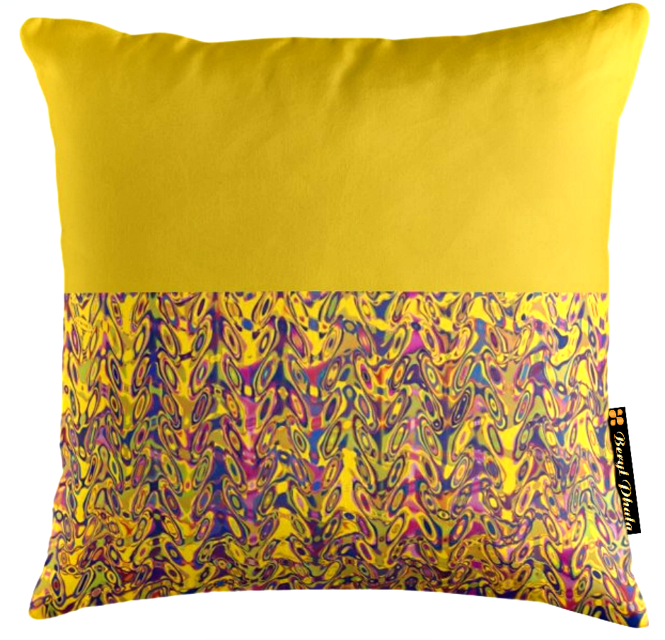 YELLOW AND DUMBBELL PRINT CUSHION