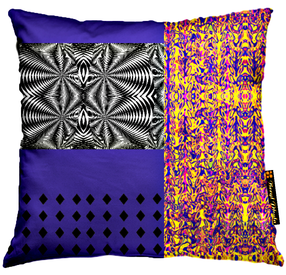 MASHED-UP PRINT CUSHION COVER