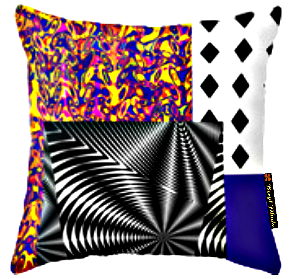 MASHED-UP PRINT CUSHION COVER 1