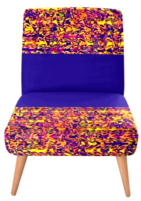 OCCASIONAL CHAIR - YELLOW AND BLUE PRINT DESIGN