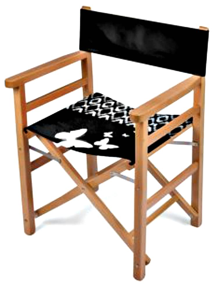 Folding Chair Black And White Butterflies Print Design