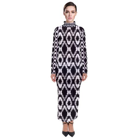 TURTLENECK LONG BLACK AND WHITE PRINT DRESS