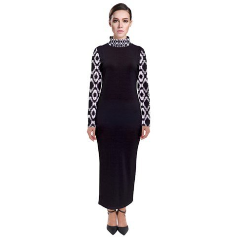 TURTLENECK LONG SLEEVES BLACK AND WHITE PRINT DRESS