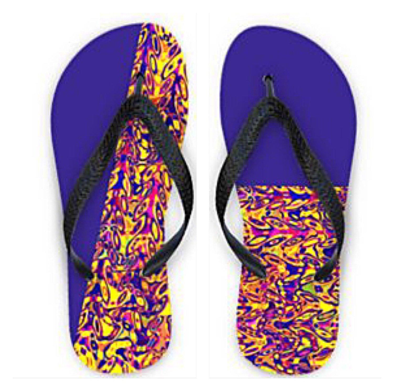 Flip Flops Mismatched Ultraviolet Print