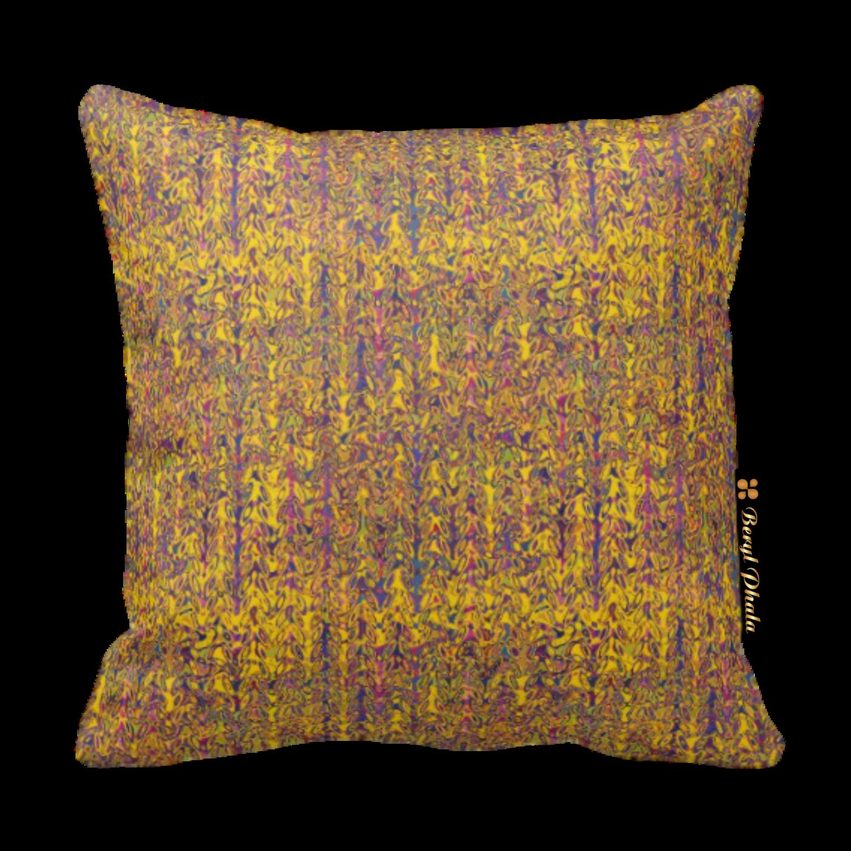 Cushion Yellow & Brown Gradient Fine Print Design