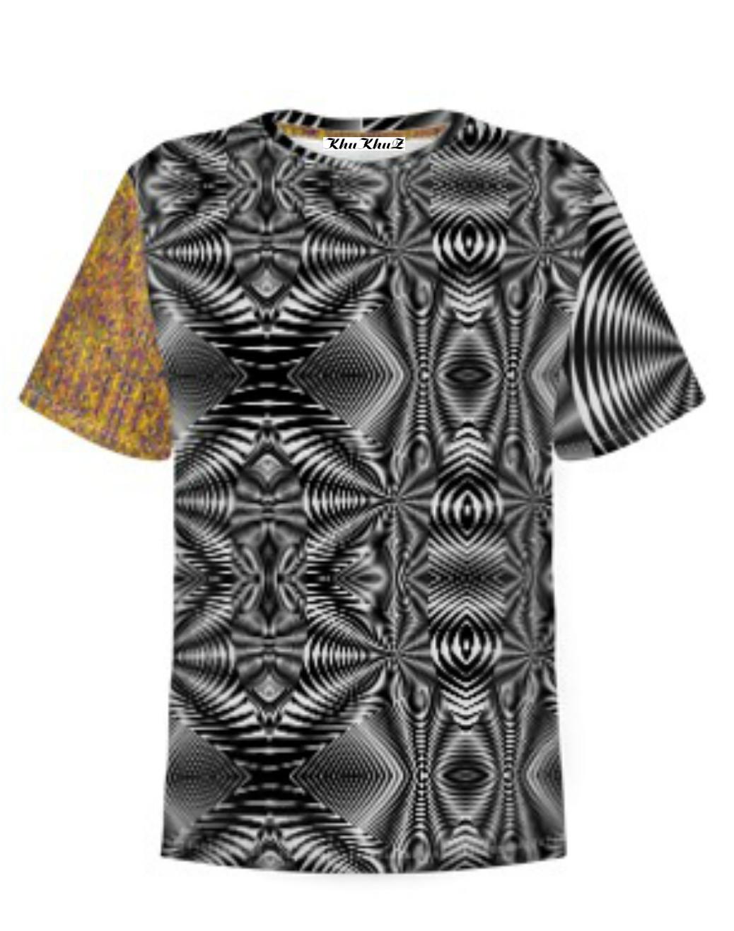 T-Shirt Cotton, Yellow, Black & White Colour Block Print