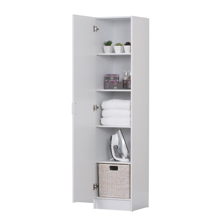 Multi Purpose Kitchen Bathroom Laundry Pantry Linen Cupboard One Door Wardrobe White